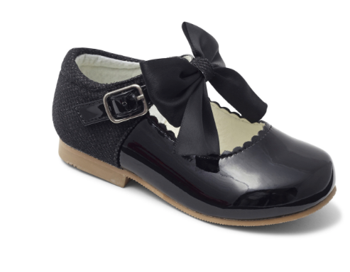 Kristy Black Bow Hard Sole Shoes