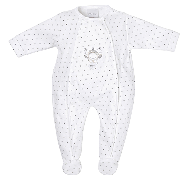 Dandelion Tiny Baby Bear Printed Onesie Grey White
