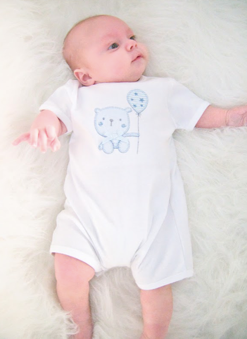 Blues Baby Teddy Romper White