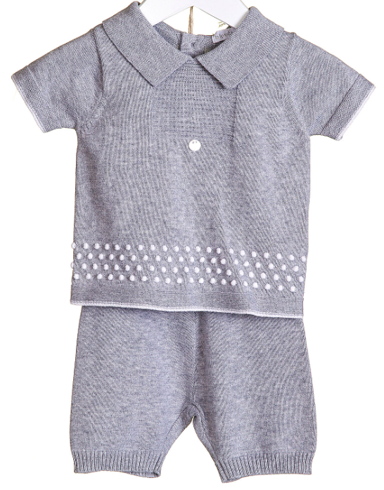Blues Baby Harry Traditional 2 PC Short Set Grey