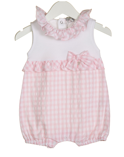 Blues Baby Girls Gingham Romper Pink