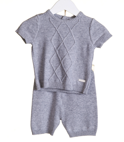 Blues Baby Grey Cable Knit Short Set