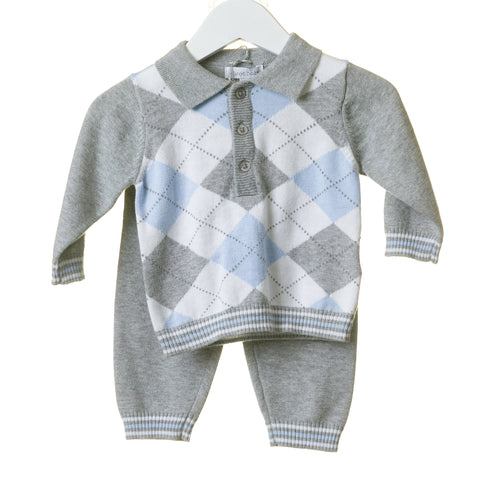 Argyle Grey Blues Baby Tracksuit