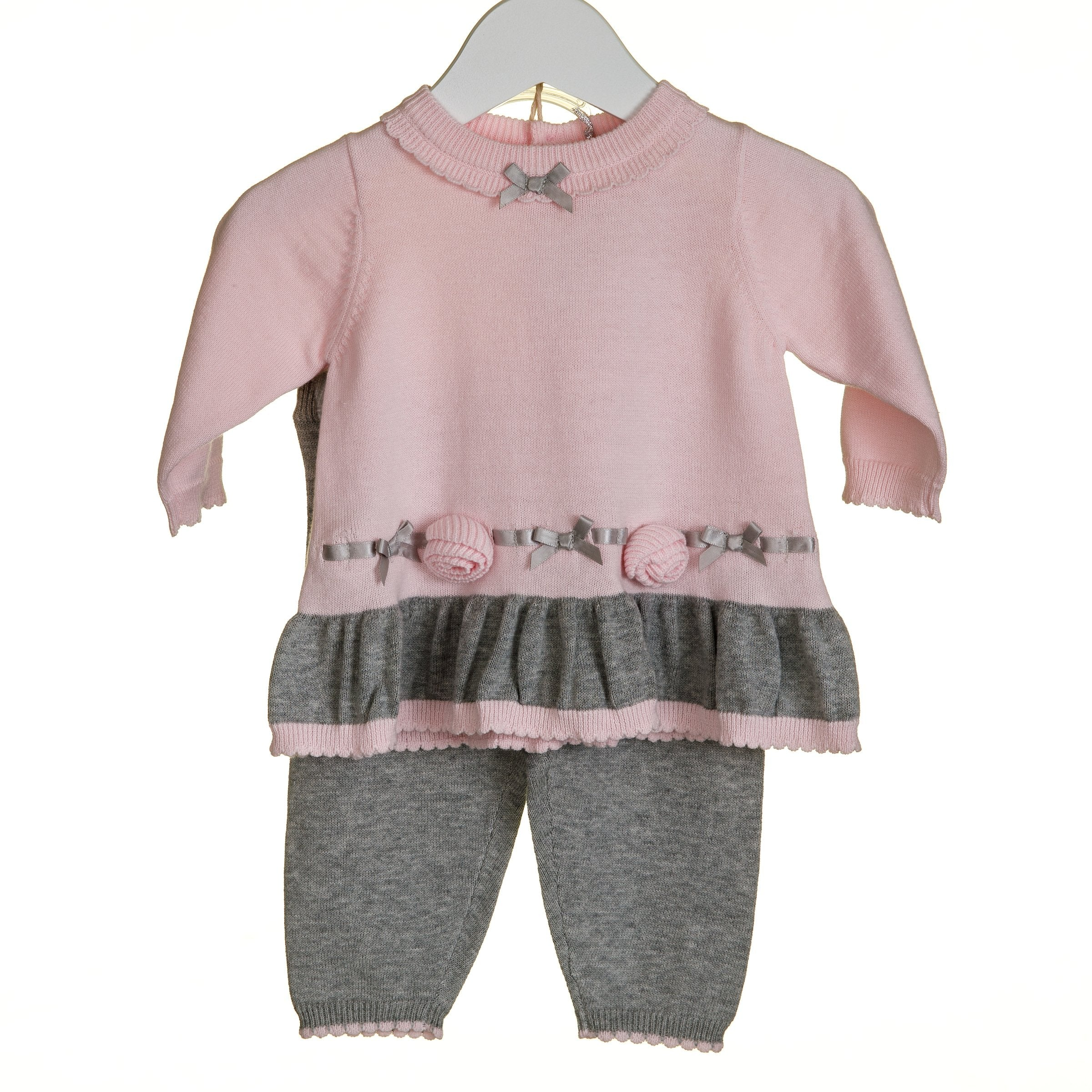 Blues Baby Grey and Pink Legging Set