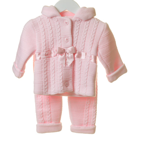 Blues Baby Pink Knitted Pram Suit