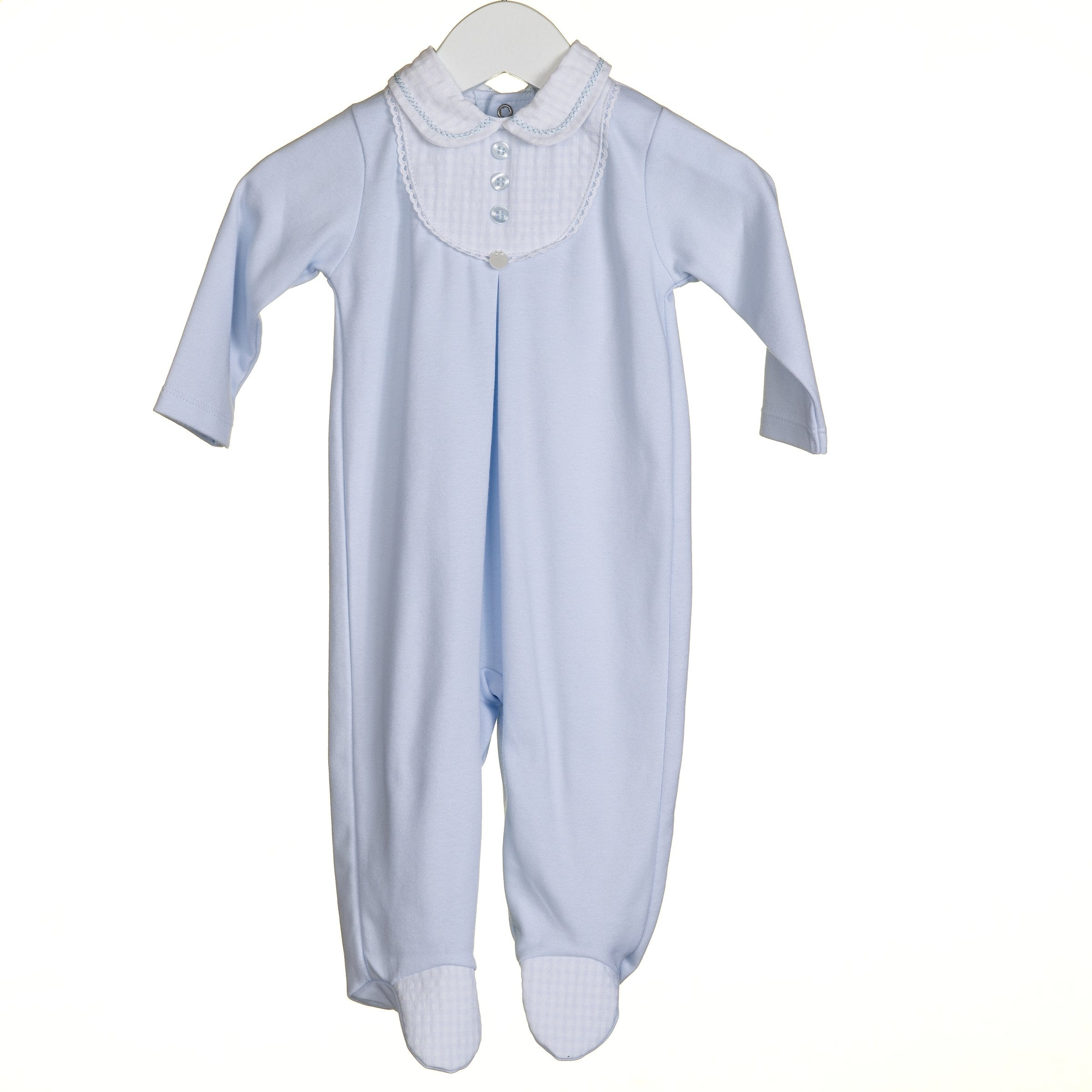 Blues Baby Cotton Sleepsuit Sky Blue