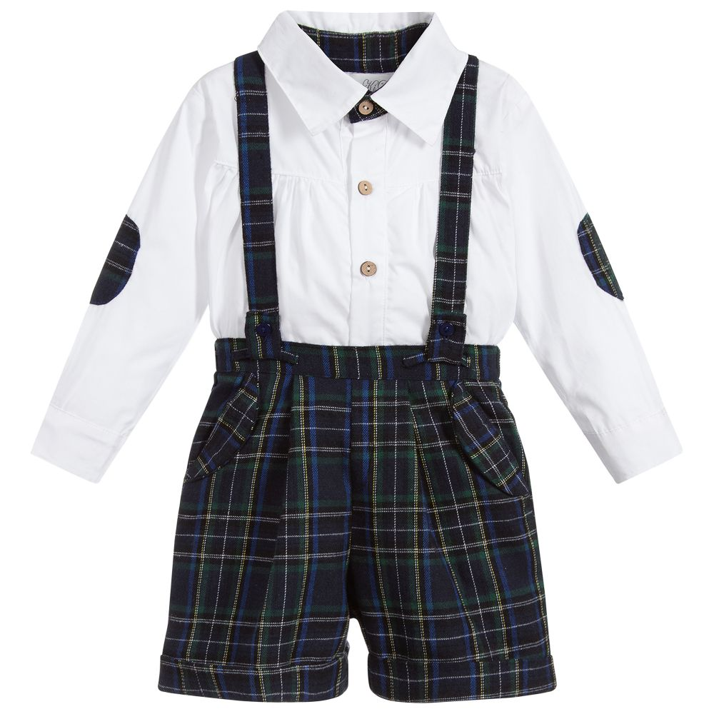 Beau Kid Boys Navy Tartan Set