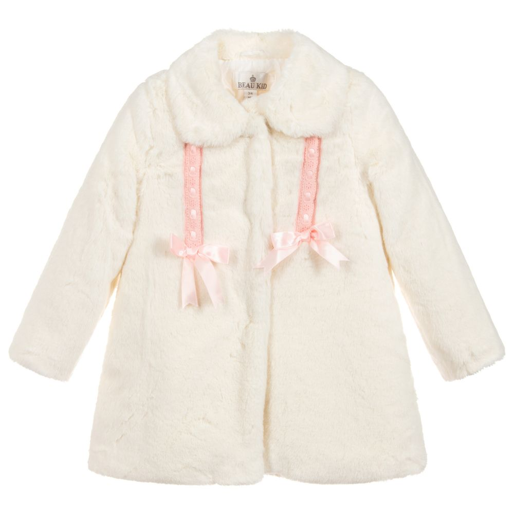 Beau Kid Faux Fur White Coat