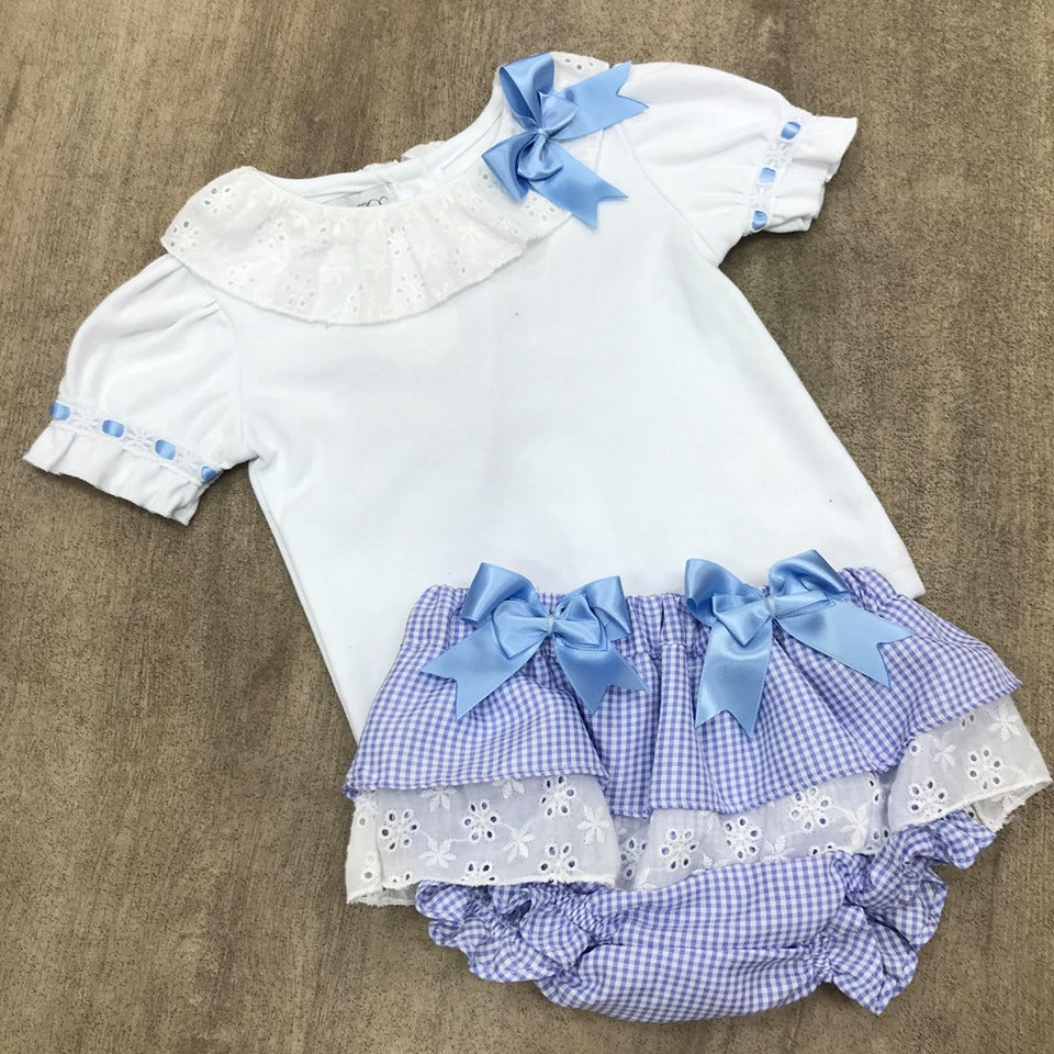 Beau Kid Blue Checked Frilly Pant Set