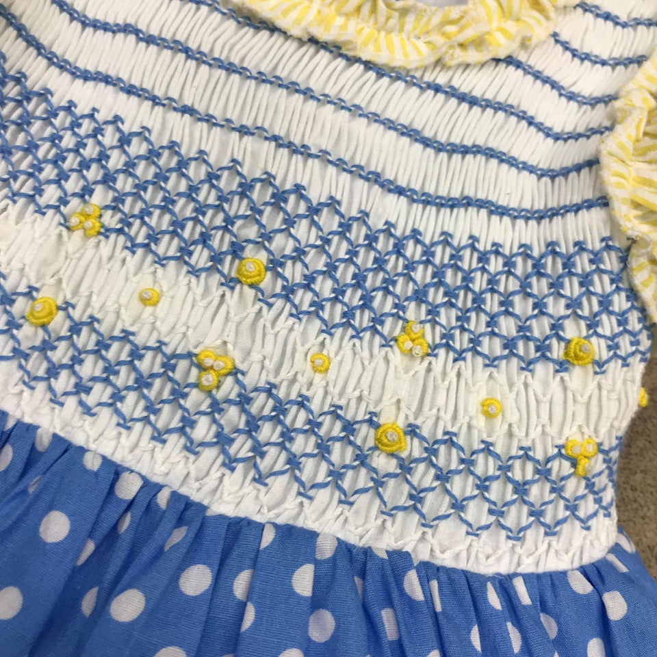 Beau Kid Blue Smocked Polka Dot Dress