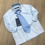 Boys Blue Boxed Tie and Shirt