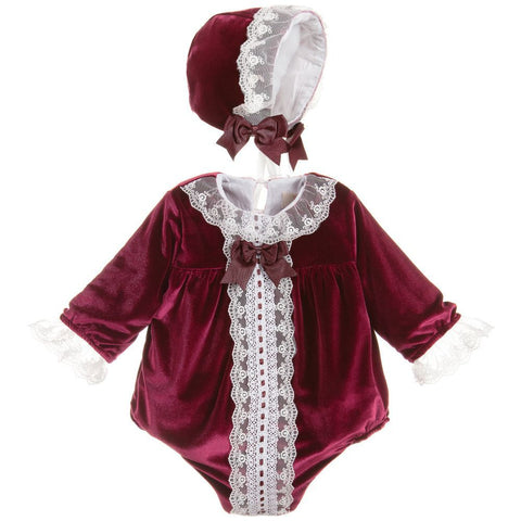Caramelo Kids Velvet Bonnet Set