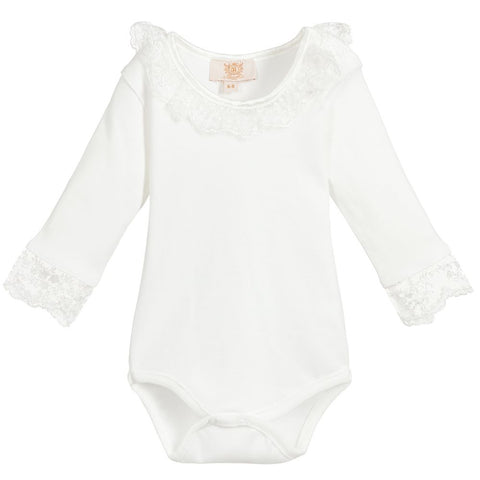 Caramelo Kids Long Sleeve Ivory Frill Bodysuit
