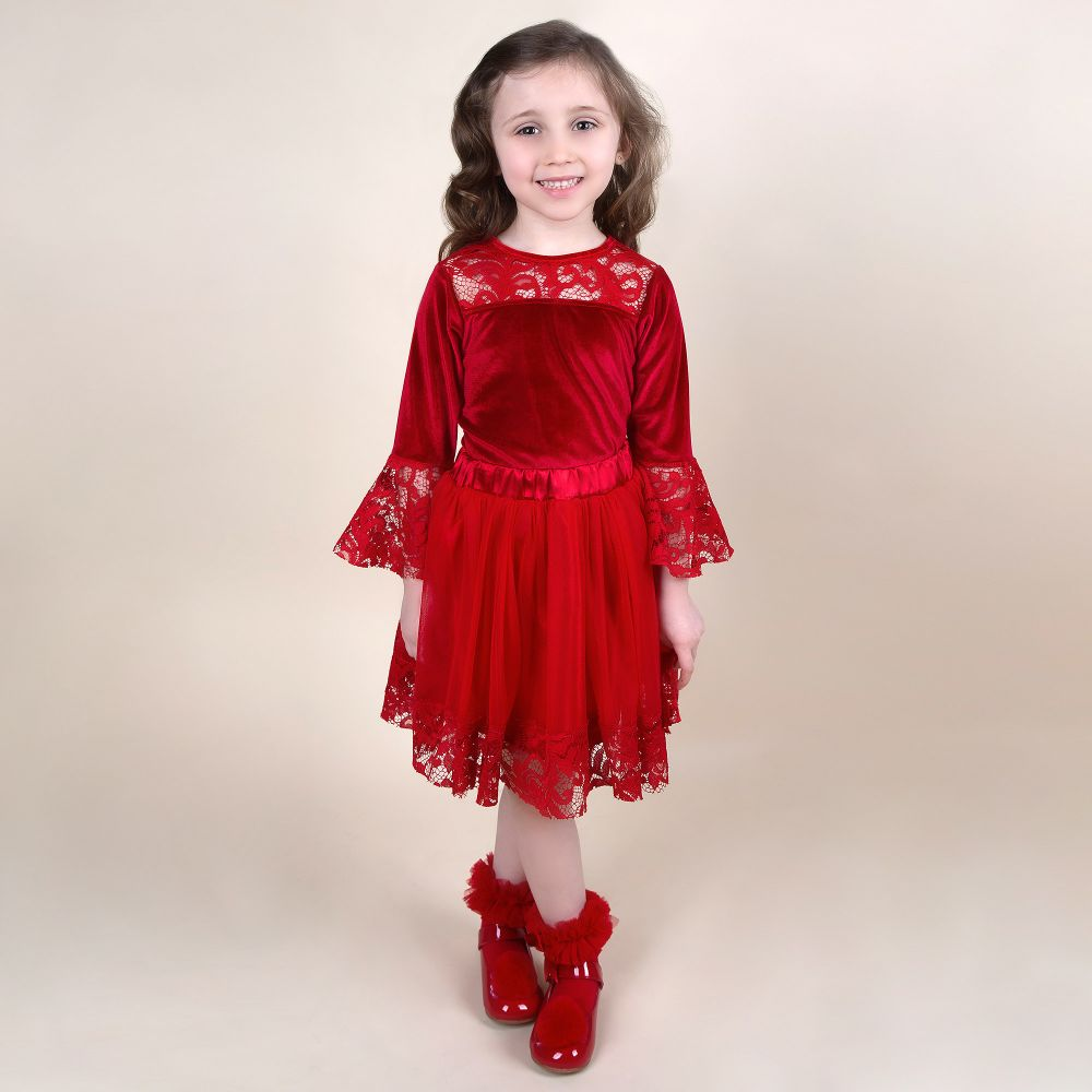 Caramel Kids Red Velvet Skirt Set
