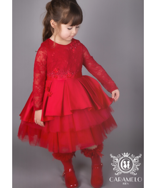 Caramelo Kids Red Long Sleeve Lace Tutu Dress