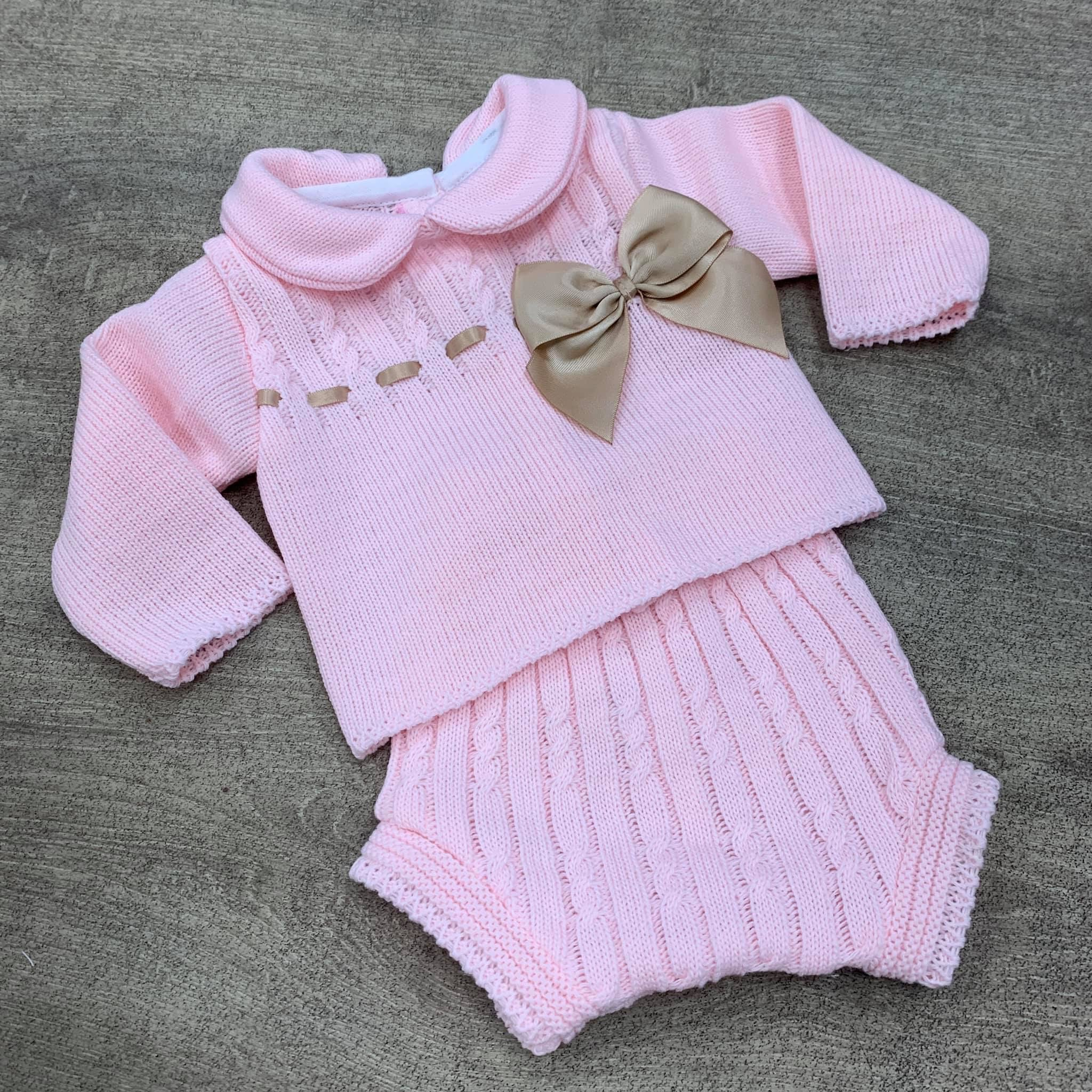 Amelia 2 Piece Knitted Bow Set - Pink