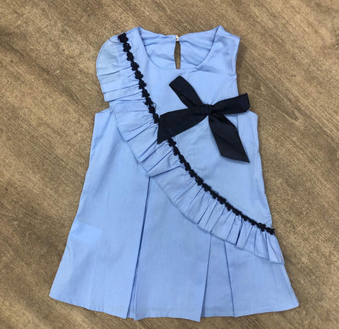 Pleated Cotton Cornflower Blue Bow Dress