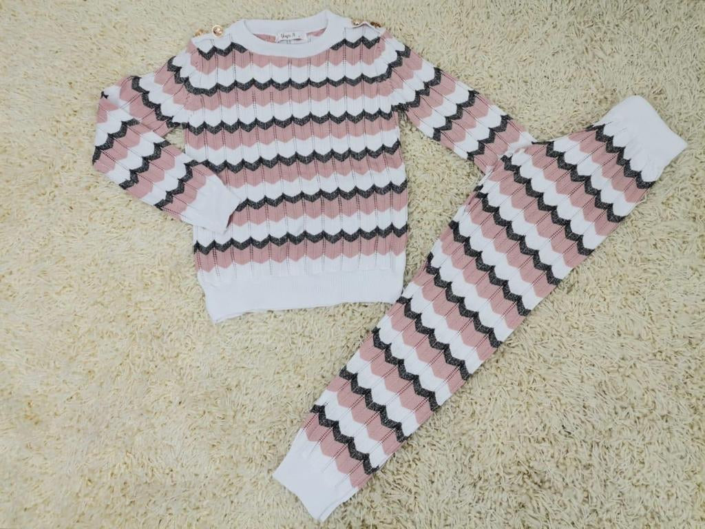 Cosy Striped Loungesuit Pink