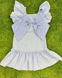 Ruffle Bow Dress Sky Blue
