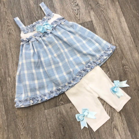 Beau Kid Blue Bow Legging Set