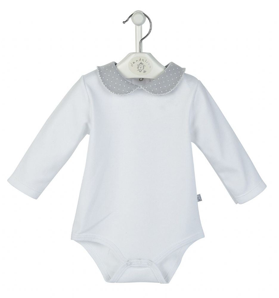 Dandelion Cotton Unisex Bodysuit w/ Grey Collar
