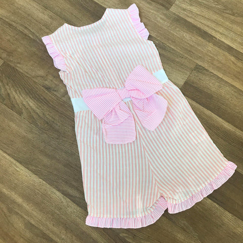 Pinstripe Bow Playsuit Pink