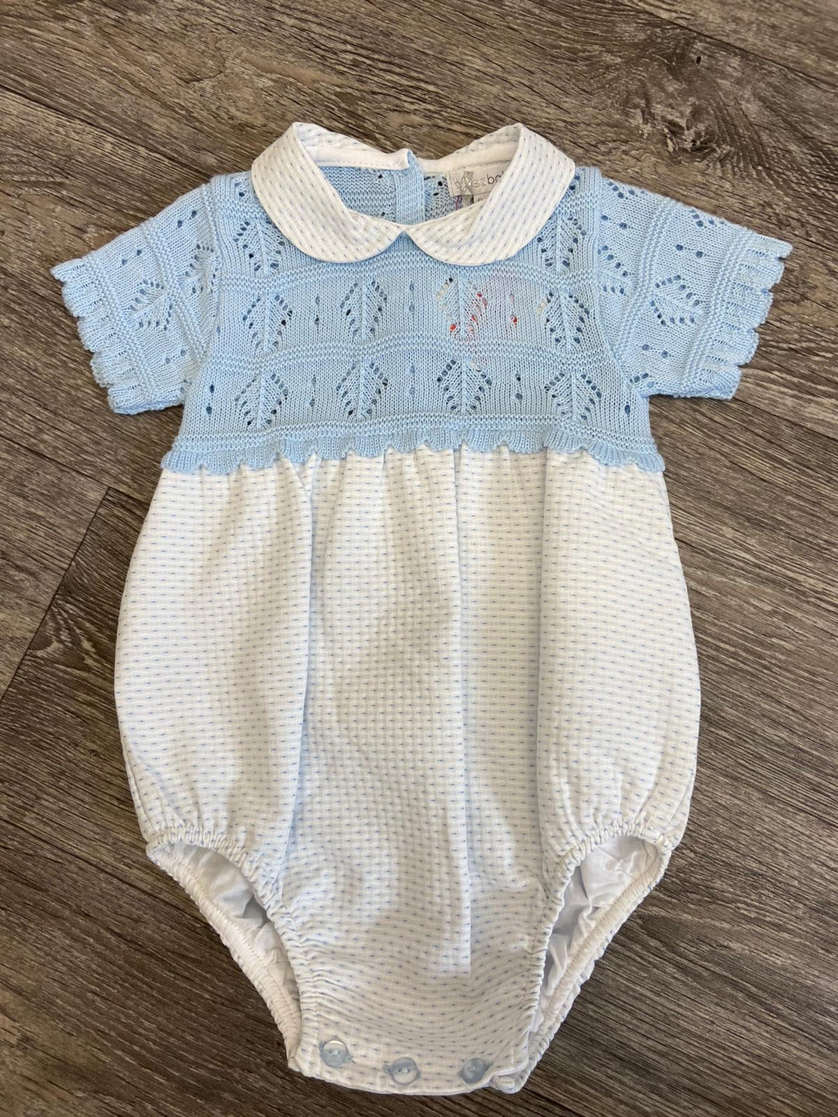 Blues Baby Peter Pan Knitted Romper