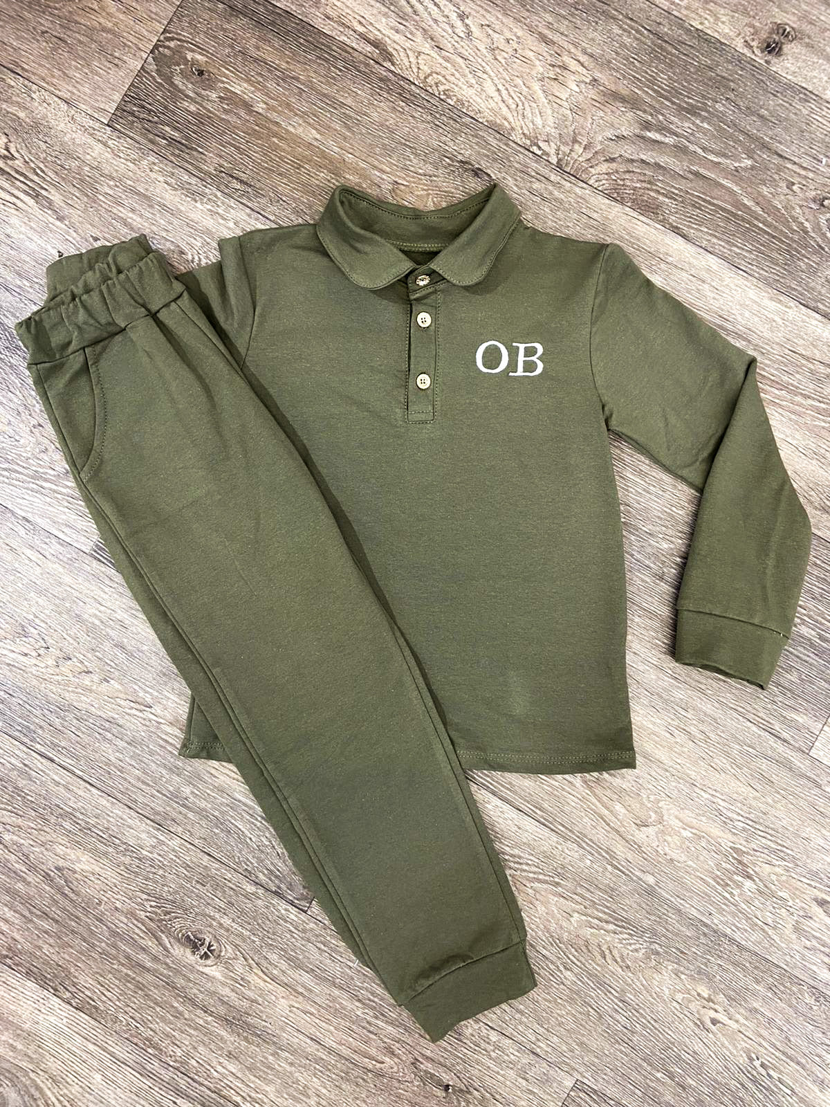 Boys Khaki Lounge Set - Personalisation Available