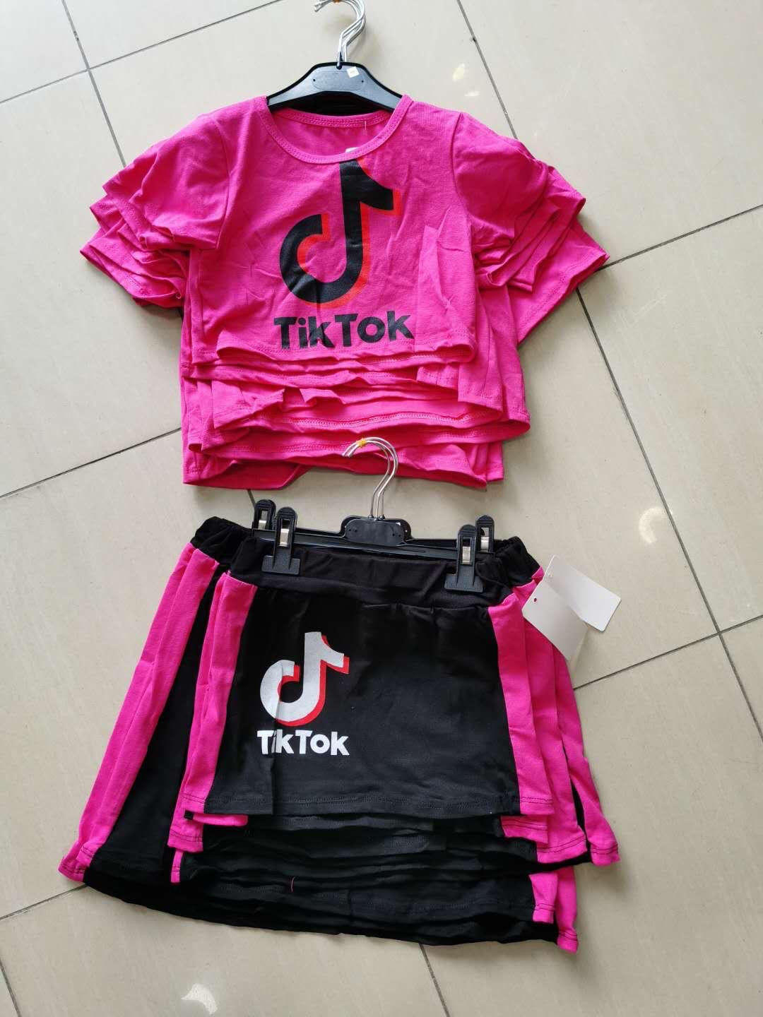 Cerise Tik Tok Lounge Skirt Set