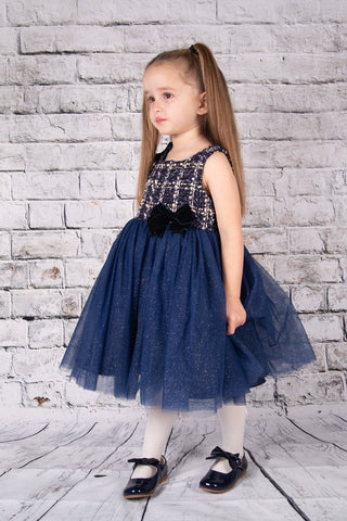 Beau Kid Tulle Navy Tweed Dress