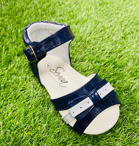 Dotty Patent Navy Sandals