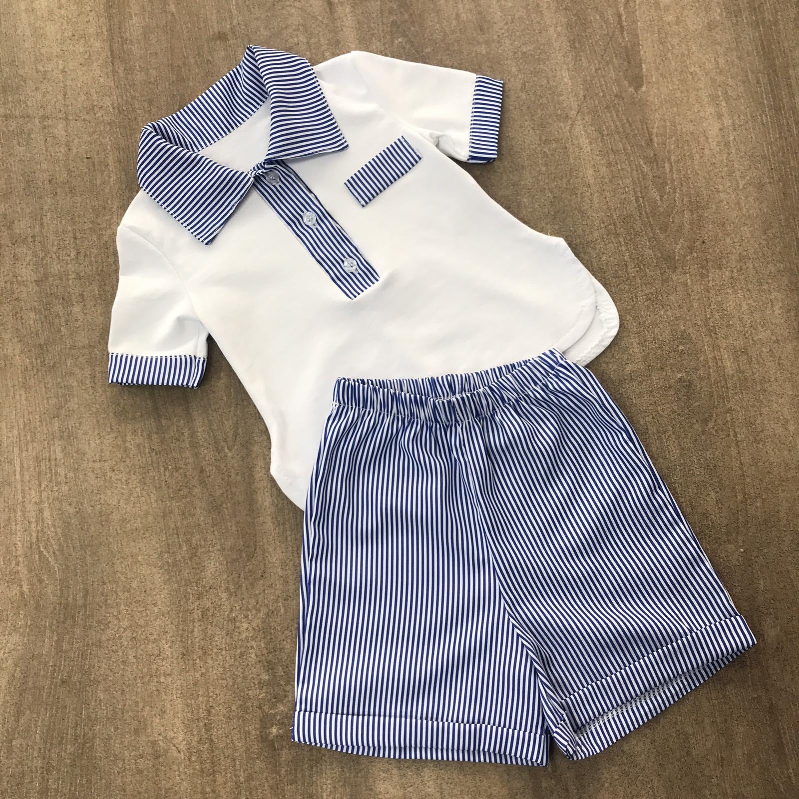 Cotton Striped Boys Short Set Blue