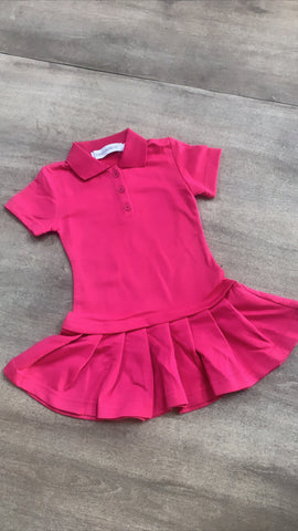 Pleated Polo Dress Hot Pink