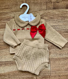 Amelia 2 Piece Knitted Bow Set - Camel Red