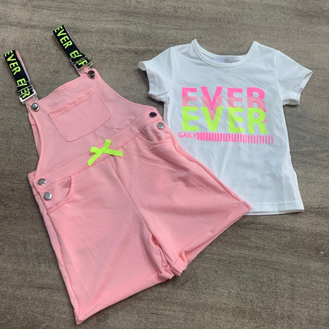"Jersey ""Ever"" Dungaree T Shirt Set Pink"