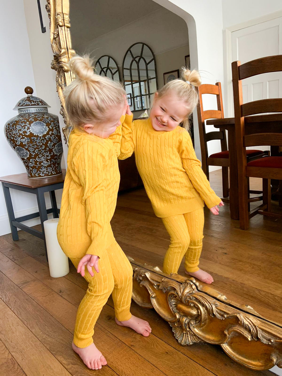 Cable Knit Mustard Lounge Set
