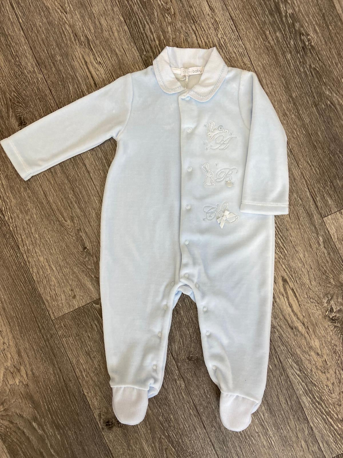 Blues Baby ABC Sky Blue Velour Romper