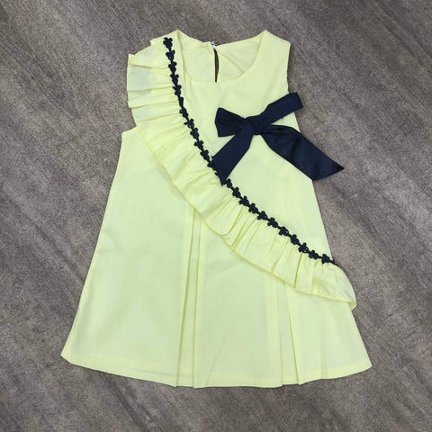 Pleated Cotton Lemon Bow Dress