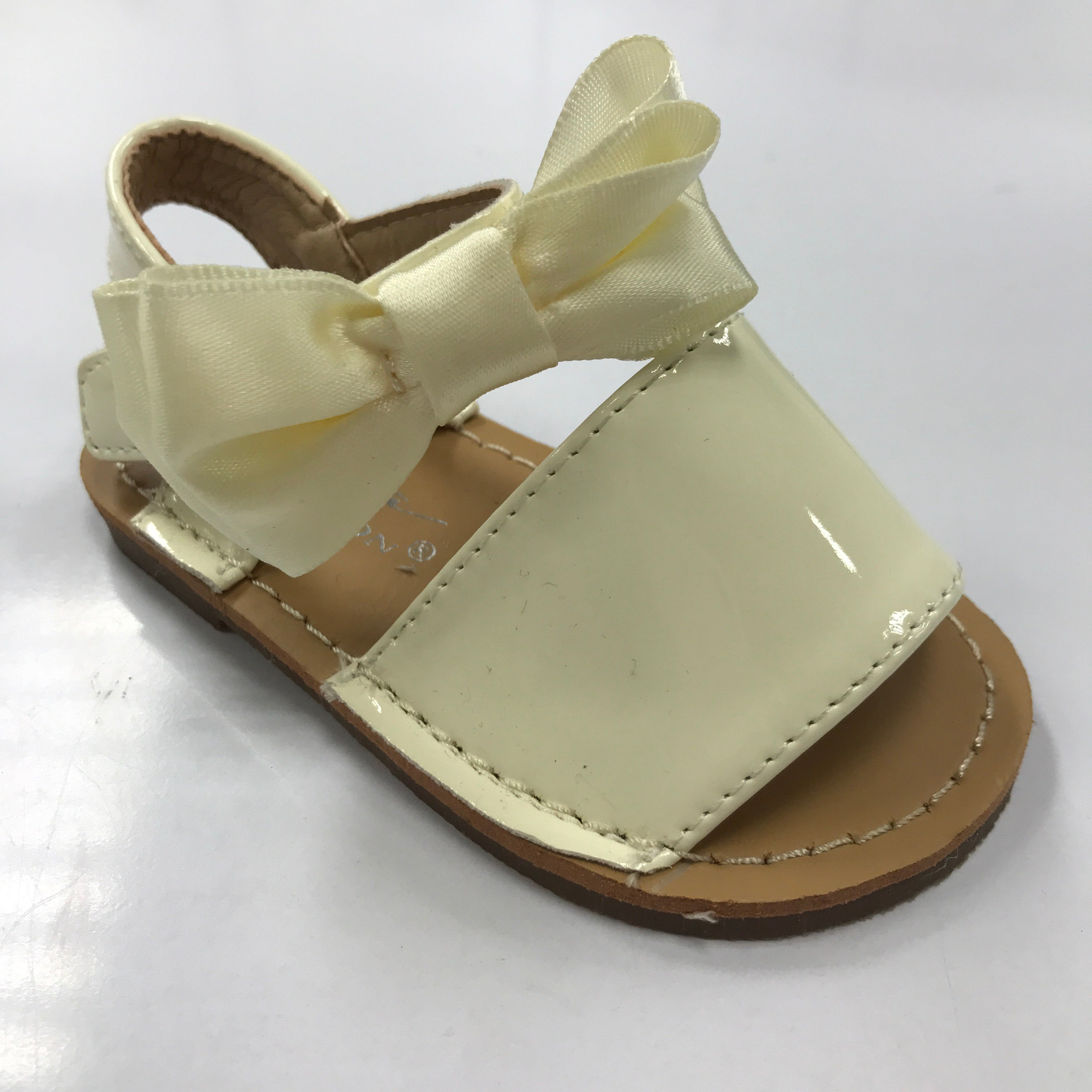 Patent Bow Sandals Ivory