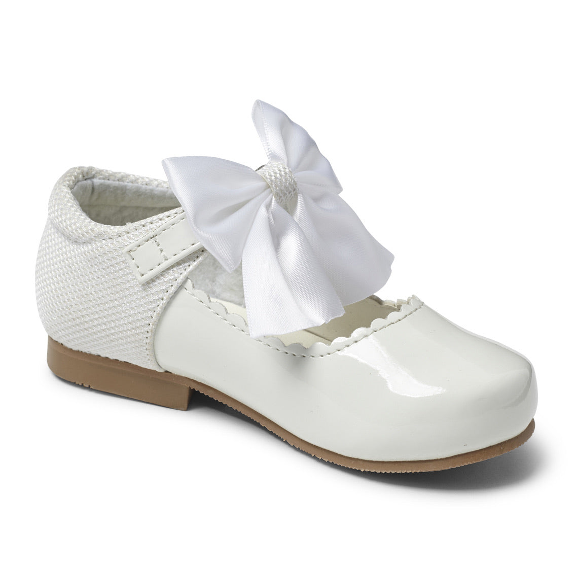 Kristy White Bow Hard Sole Shoes