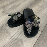 Sparkle Bow Sliders Black