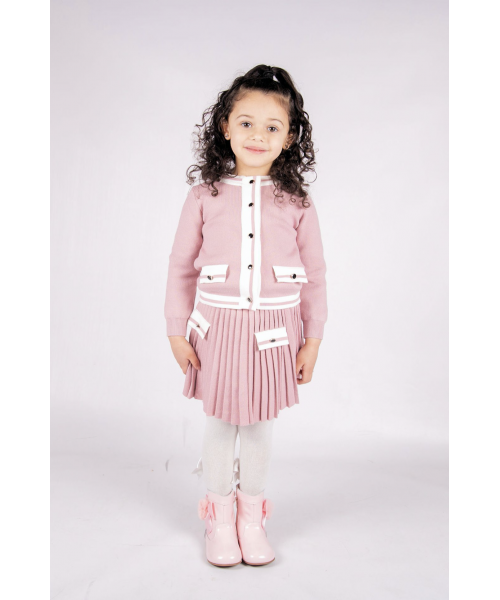 Beau Kid Knitted Skirt Set Pink