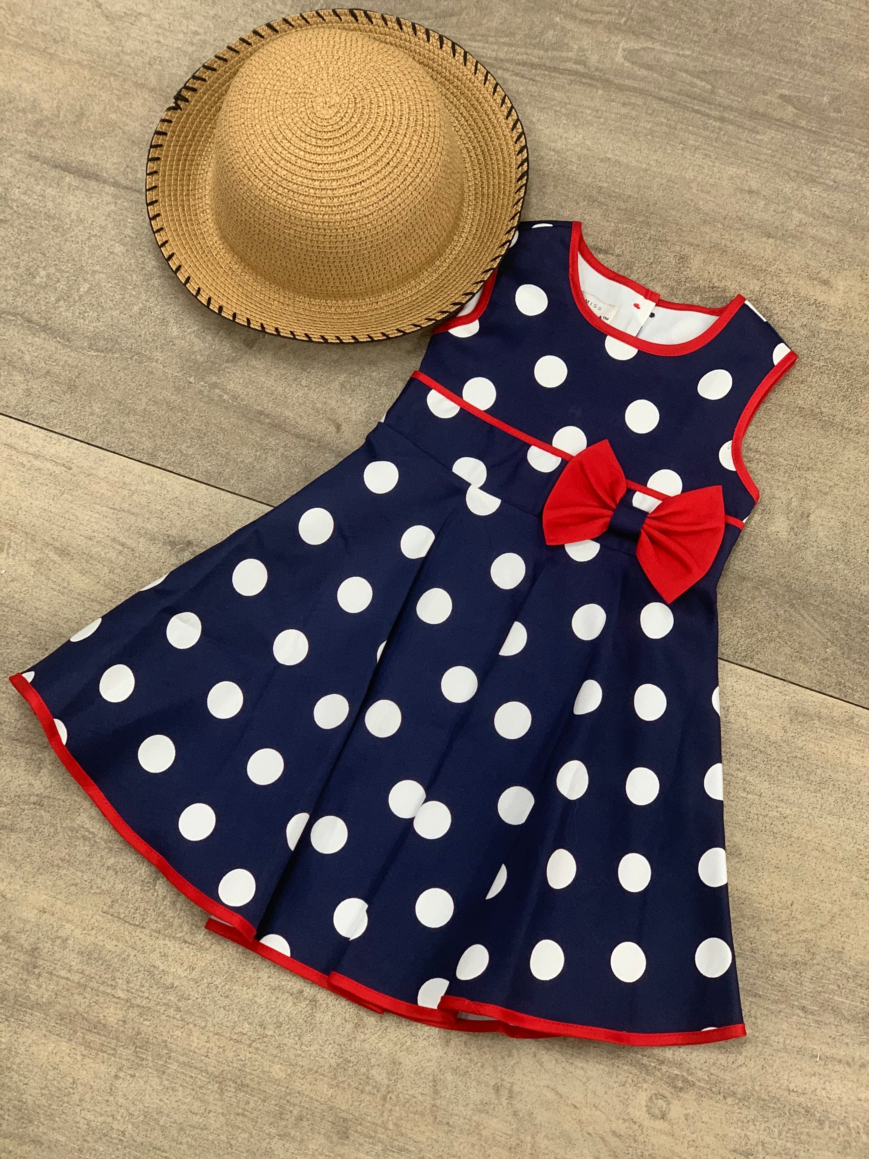 Bo-Peep Polka Dot Dress Navy