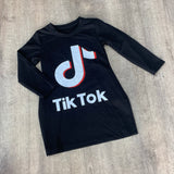 Tik Tok Long Sleeved Jersey Dress Black