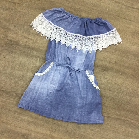 Denim Style Lace Dress