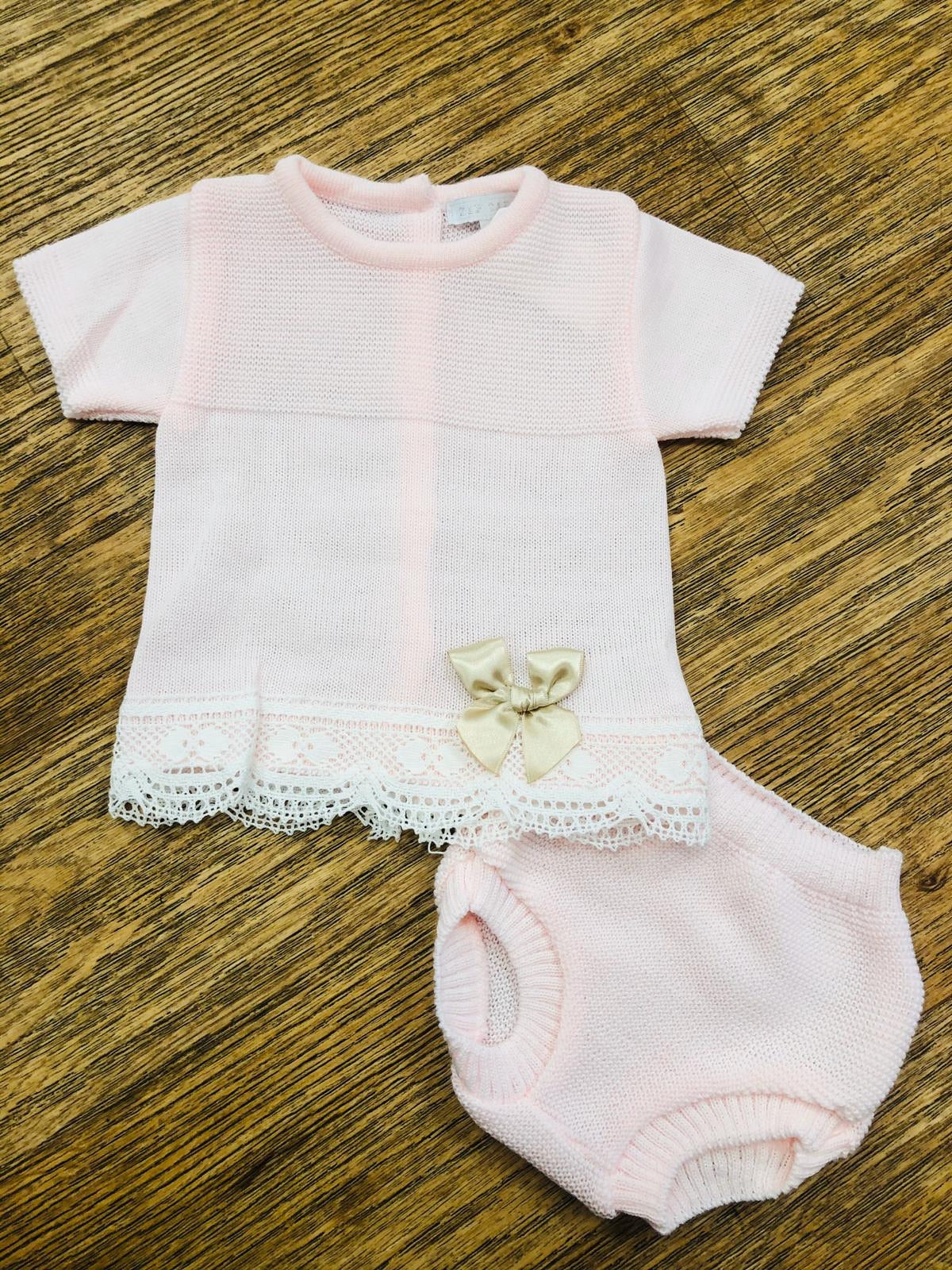 Blues Baby Pink and Camel Ribbon Jam Pants Set