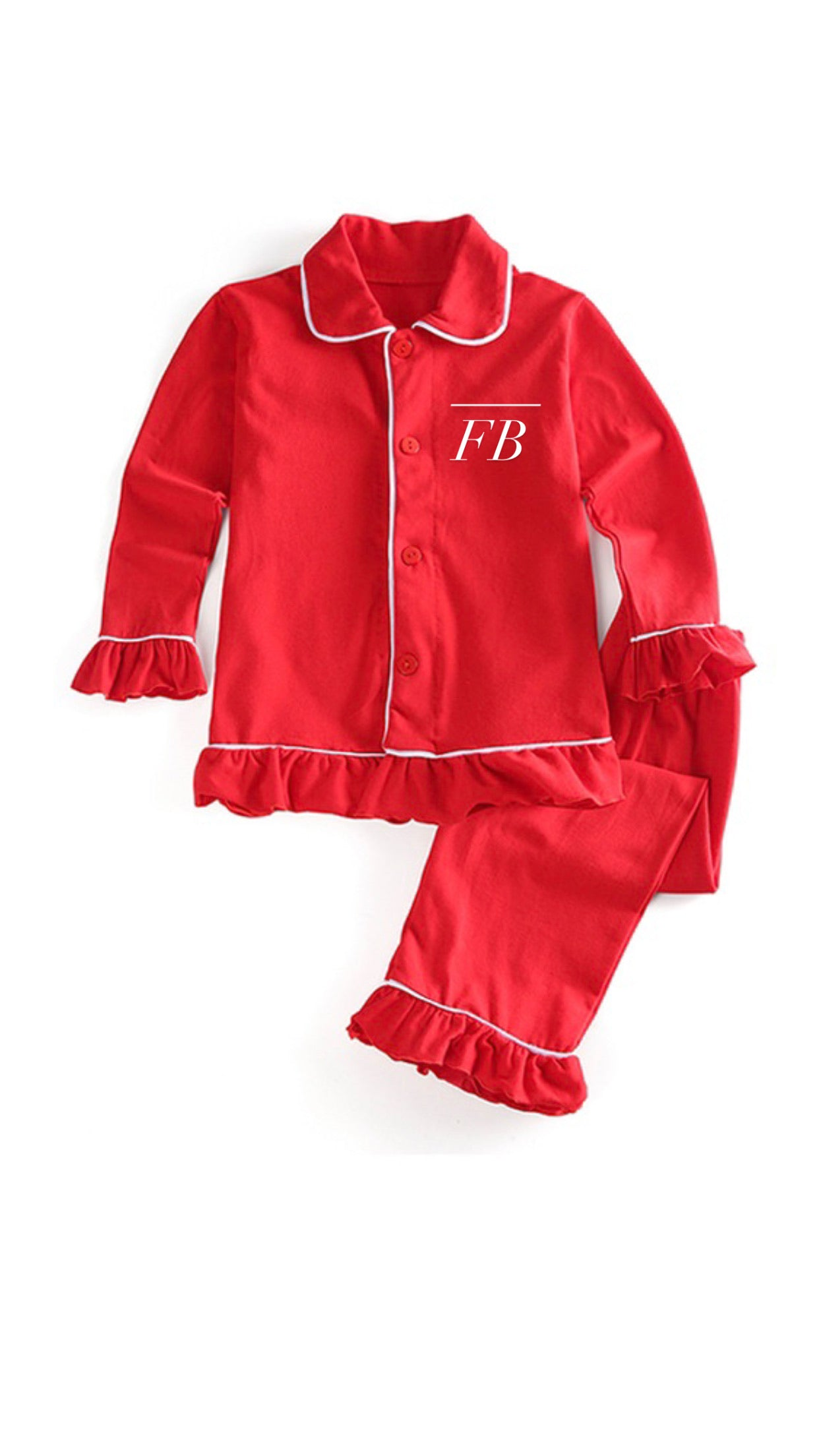 Red Satin Personalised Pyjamas Girls