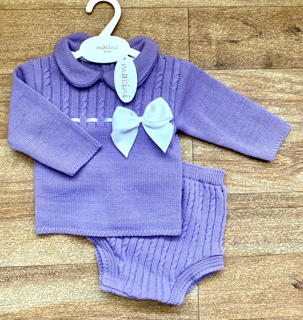 Amelia 2 Piece Knitted Bow Set - Lilac