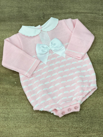 Poppy Knitted Pink Bow Romper