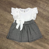 Ruffle Spring Dogtooth Dress White